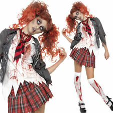 Zombie School Girl Costume - Zombie Fancy Dress Halloween Walking Dead Outfit