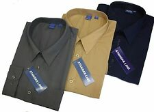 Mens Shirt Formal Casual Button Cuff 3 for £15 Yellow Navy Grey Beige Blue Green