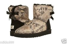 UGG Australia Women's Mini Bailey Bow Snake Black 1005534 Brand New In Box
