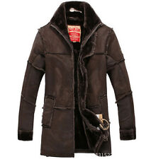 Cool New Men's Leather Fur Lined Stand Collar Thicken Warm Jacket Coat Overcoat