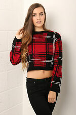 Ladies Womens Checked Tartan Knitted Winter Long Sleeve Cropped Jumper Size 8-14
