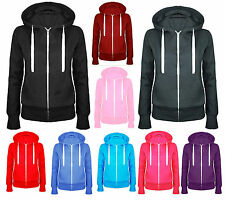 New Ladies Womens Plain Zip Up Fleece Hoody Sweatshirt Coat Jacket Top Hoodies