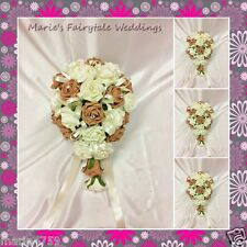 WEDDING FLOWERS BRIDAL SMALL BOUQUET SILK FOAM ROSES MOCHA CAPPUCCINO +OTHER COL