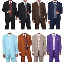 Men's Four Button Solid Suit w/ Paisley Jacquard Vest Milano Moda 6903