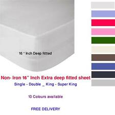 "Non-Iron 16"" Extra deep fitted sheets bedding single double king or Super King"