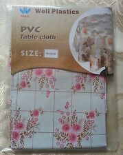 UK Stock Sale Wipe Clean Tablecloth Oilcloth Vinyl PVC Floral Light Green