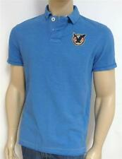American Eagle Outfitters AEO US-9 Double Logo Mens Blue Polo Shirt New NWT