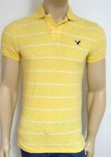 American Eagle Outfitters AEO Mens Yellow Stripe Interlock Polo Shirt New NWT