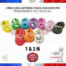 Câble Lightning 8PIN Chargeur Couleur Iphone 5/5C/5S/6/6+ ☆ 10 couleurs 1M/2M ☆