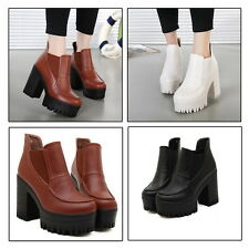 Womens Slip On High Chunky Heels Platform Cleated Sole Chelsea Splice Boots