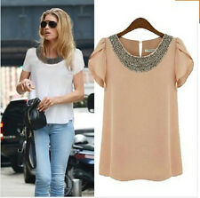 New Fashion Womens Ladies Chiffon Short Sleeve T Shirt Casual Tops Beads Blouse