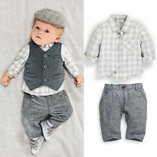 Hot Newborn baby boy Grey Waistcoat+Pants+Shirts clothes sets Suit 3 PCS 1 Lot