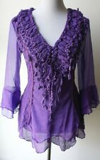 Pretty Angel Vintage Victorian Romantic Renaissance Gypsy PURPLE Blouse--UNIQUE!