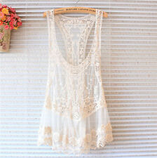 Women's Sexy Floral Sleeveless Vintage Crochet Knit Lace Vest Tank Top Shirt_US