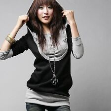 Selling Women Long Sleeve Cotton Tops Dress T-shirt Shirt Hat Hooded Black Coat