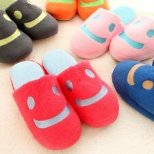 New Cute velvet Women Unisex Anti-slip Smile face Slippers Indoor House Warm
