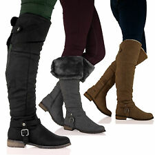 D8Y WOMENS LADIES OVER THE KNEE FUR LINED TRENDY FASHION WINTER BOOTS SHOES SIZ