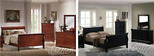 Louis Phillipe Bedroom Set Cherry Black 4 pieces Sleight Platform Queen Bed