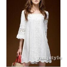 2014 Women Square Neck Short Sleeve Crochet Lace Boho Party Cocktail Mini Dress