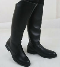 Military Shoes Mens Zipper Faux Leather Knee High Motorcycle Combat Riding Boots