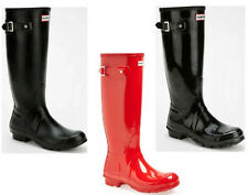 HUNTER ORIGINAL TALL WELLINGTON RAIN BOOTS Gloss Black Gloss Red Original Black
