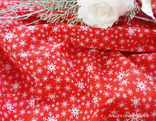 Christmas Festive Snowflakes Red & White Seasonal Polycotton Fabric FREE POST