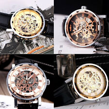 Men Hand Winding Mechanical Watch Hollow Transparent Dial Leather WatchBand 45P5