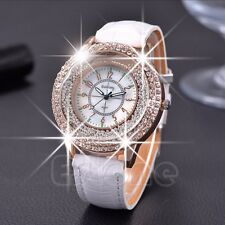 Luxury Lady Women Bling Crystal Dial Quartz Analog Leather Bracelet Wrist Watch