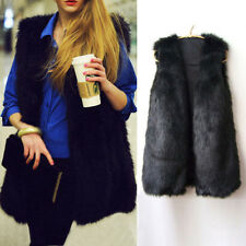 Chic Lady Faux Fur Sleeveless Vest Long Hair Waistcoat Gilet Coat Jacket Outwear