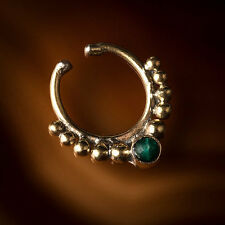 Brass Fake/Faux/Clip On Septum Ring With Stone For Non Pierced Noses (Code 6)
