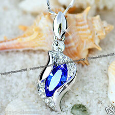ROYAL BLUE CRYSTAL NECKLACE LOVE VALENTINE XMAS GIFT FOR HER WIFE MUM SIS WOMEN