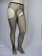 Crotchless fishnet suspender pantyhose Plus Size 14 to 20