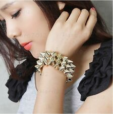 Fashion Punk Style Double Golden Personality Stretch Rivets Alloy Bracelets