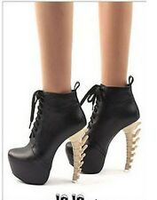 Retail $185-2014 Street Rock Fashion-3D Spine Heel TOP SEXY Platform Ankle Boot