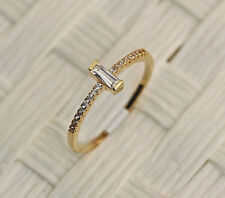 1pc Bride Noble Simple Rectangle Zircon 18K Gold Plated Lady Ring Size 6/7/8