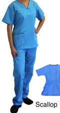MEDICAL NURSING SCRUB SET FOR WOMEN - CONTRAST SCALLOP BY NATURAL UNIFORMS