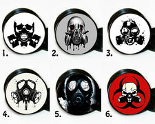 Choose a pair of Gas Mask Ear gauges tunnel screw back plugs