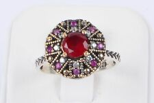 Lovely Turkish Handmade Red Ruby Round 925 K Sterling Silver Women Ring