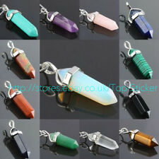 Natural Quartz Crystal Healing Point Chakra Reiki Cut Gemstone Necklace Pendant