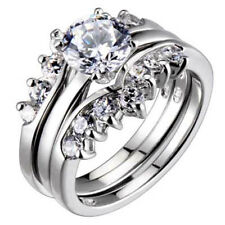 1.25 Ct Sterling Silver Round Cubic Zirconia Engagement Wedding Three Rings Set