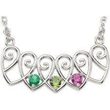 Mother's Heart Necklace Sterling Silver or 14K Gold 1-5 Birthstones, Mom's Gift