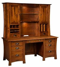 "68"" Amish Executive Computer Desk Hutch Home Office Solid Wood Furniture"