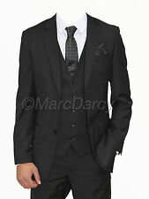 MENS MARC DARCY DESIGNER BLACK 3 PIECE SUITS LONG FITTING IDEAL FOR WEDDINGS