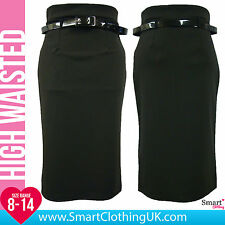 New Womens Black High Waisted Pencil Mini Skirt Stretch Bodycon Midi Wiggle Size