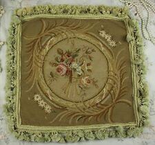 "16"" OLD/Antique/Vintage Design Hand Stitched Floral Needlepoint Pillow Cushion"