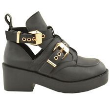 Womens Strappy Biker Chelsea Low Flat Heel Ankle Boot Cut Out Shoes Size UK 3-8
