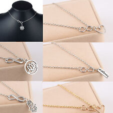 Stylist Fashion Women Infinity Silver Gold Plated Pendant Charm Chain Necklace