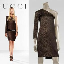 NEW $3,225 GUCCI RUNWAY Asymmetrical Olive LEOPARD One Shoulder DRESS 42 44