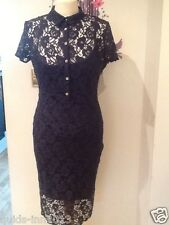 PRIMARK NAVY LACE PENCIL DRESS SOLD OUT WIGGLE OFFICE WEDDING 8-12