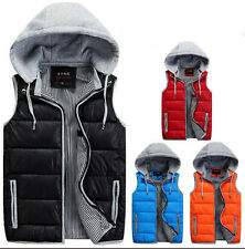 Men's Women Winter Slim padded Hooded Cotton Vest Down Jackets Coats waistcoat